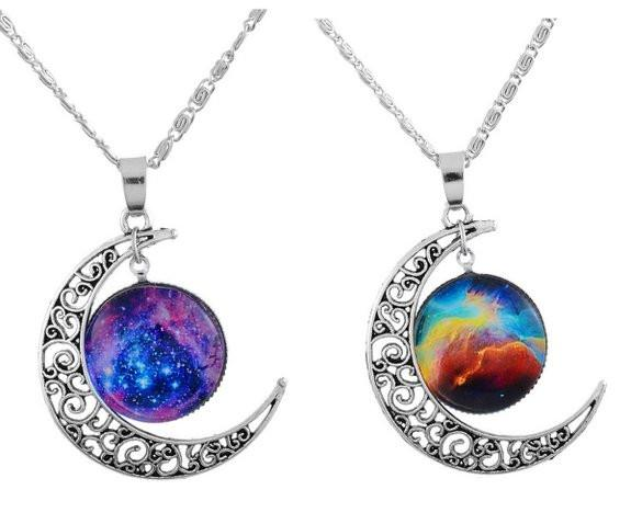 Filigree Crescent Moon BFF Best Friends 2 PC Chain Charm Necklace SET - Boho Bohemian Decor