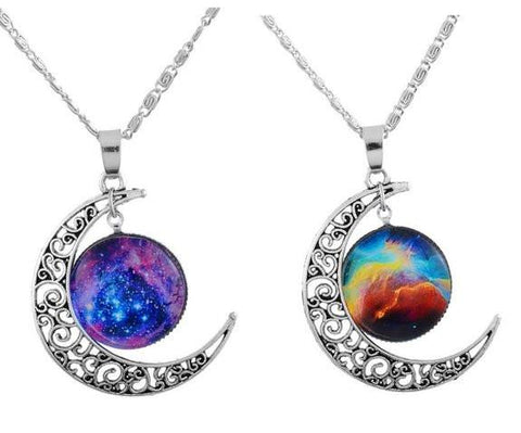 Filigree Crescent Moon BFF Best Friends 2 PC Chain Charm Necklace SET - GoGetGlam Boho Style