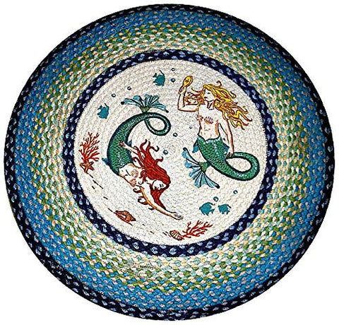 Fin Friends Mermaid Round Braided Rug - Boho Bohemian Decor