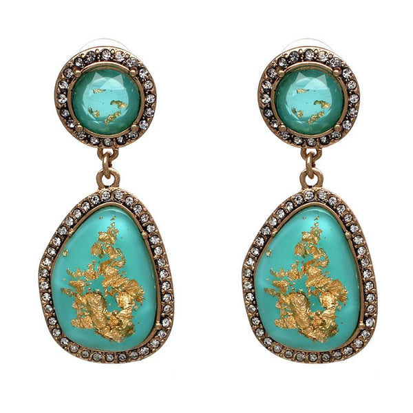 Fiona Gold Flecked Aqua Earrings-GoGetGlam