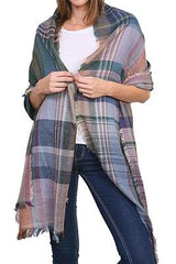 Fiona Pink Mix Plaid Knit Scarf - Boho Bohemian Decor