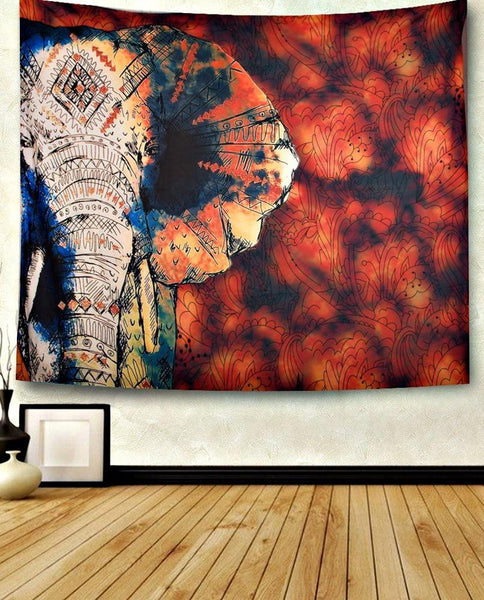 Fire Sky Elephant Boho Wall Bed Tapestry - Boho Bohemian Decor