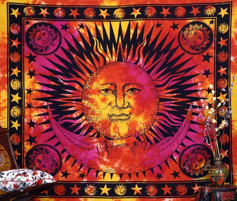 Flaming Red Orange Sun Celestial Psychedelic Wall Bed Table Queen Tapestry - Boho Bohemian Decor