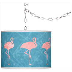 Flamingo Frenzy Pattern Plug-In Pendant Chandelier - Boho Bohemian Decor