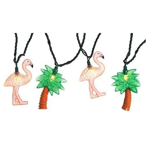 Flamingos and Palm Trees Party String Lights, 8-Feet - Boho Bohemian Decor