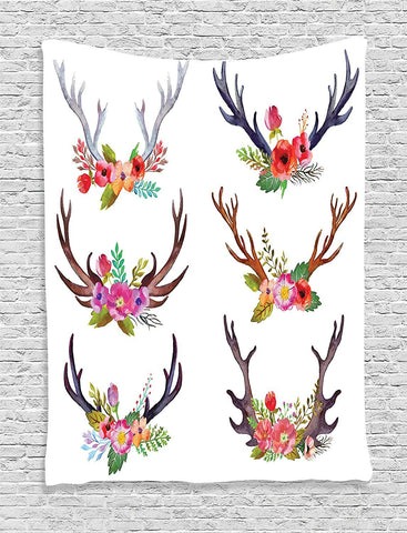 Floral Antler Wall Fabric Wall Art Tapestry-GoGetGlam