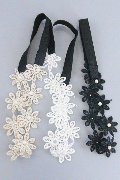 Floral Lace Headband - Set of 3-GoGetGlam
