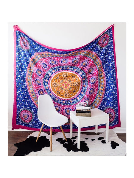 Flower Power Boho Mandala Wall Tapestry - Boho Bohemian Decor
