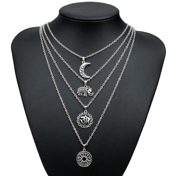 Four Tier Lucky Charm Elephant Necklace-GoGetGlam