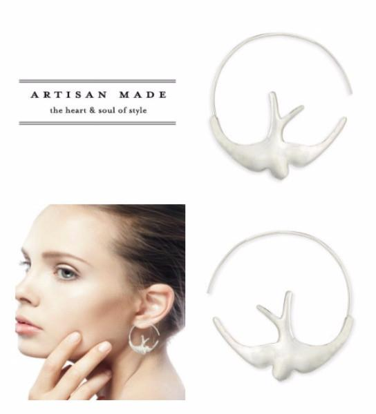 Freedom Bird Artisan Hoop Earrings-GoGetGlam