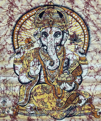 Ganesha Elephant Bohemian Boho Brown Gold Wall Beach Bed Tapestry - GoGetGlam Boho Style