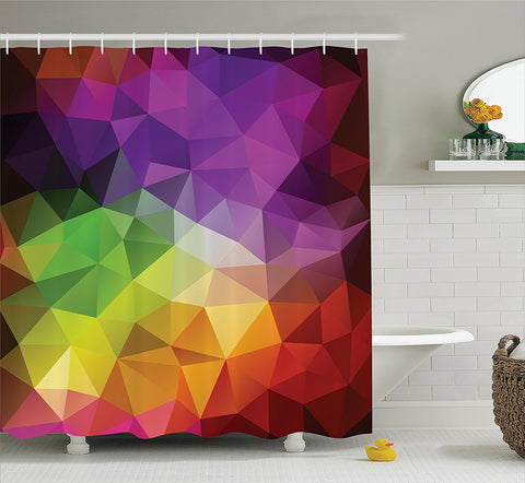 Geometric Colorblock Triangles Fabric Shower Curtain - GoGetGlam Boho Style