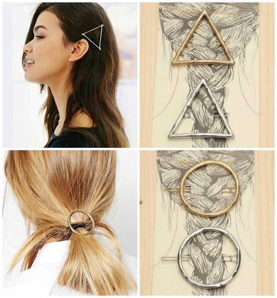 Geometric Triangle or Circle Boho Hair Pins Barrettes - GoGetGlam Boho Style
