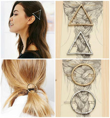 Geometric Triangle or Circle Boho Hair Pins Barrettes-GoGetGlam