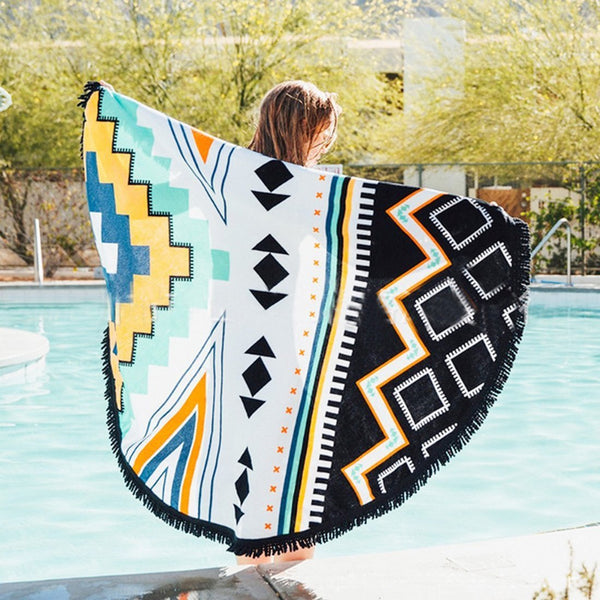 Geometric Tribal Print Boho Yoga Round Tapestry Towel Table Cover Wall Hanging - GoGetGlam Boho Style
