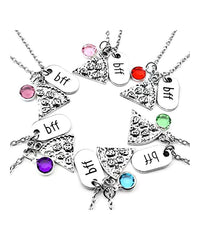 Gift Set of 6 BFF Best Friends Pizza Necklaces-GoGetGlam