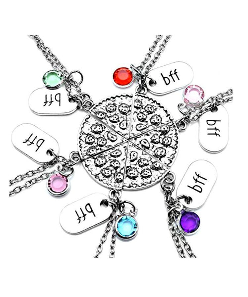 Gift Set of 6 BFF Best Friends Pizza Necklaces - GoGetGlam Boho Style