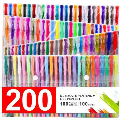 GLAM 200 Ultimate Gel Pen Set For Adult Coloring Books - GoGetGlam Boho Style