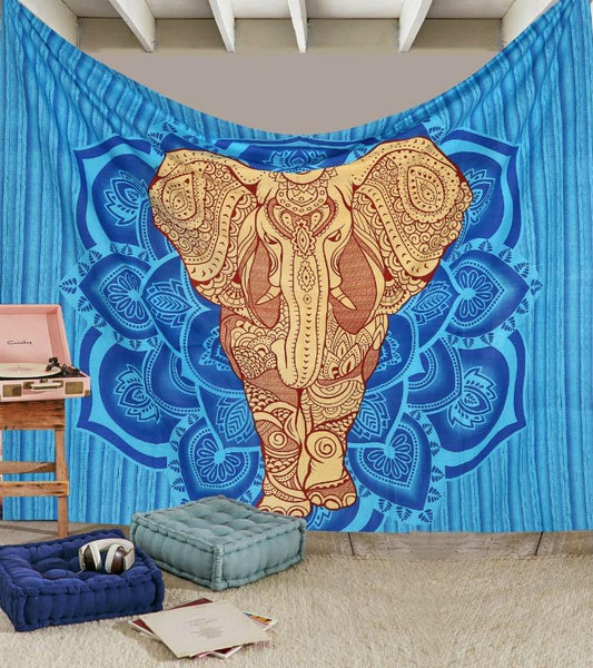 GLAM Exclusive Big Blue Elephant Boho Tribal Queen Tapestry-GoGetGlam