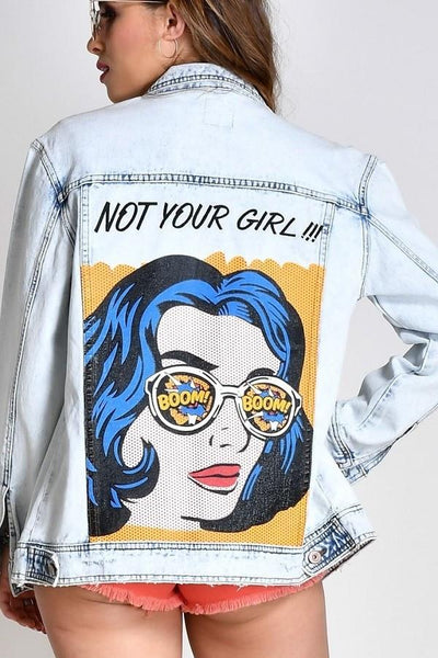 Glam Retro Not Your Girl Denim Jean Jacket-GoGetGlam