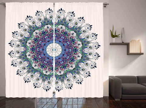 GLAMNYC Boho Peacock Mandala Window Curtain Panel SET-GoGetGlam