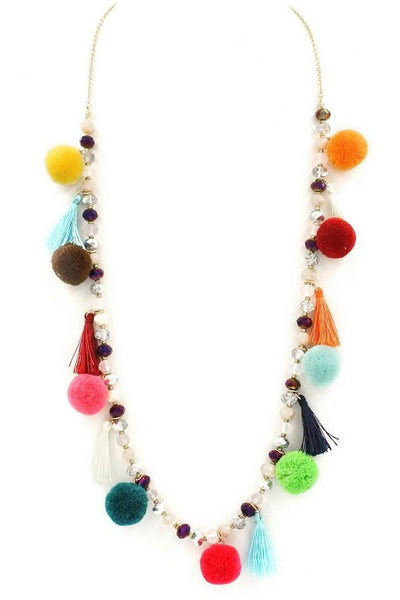 Glass Bead Pom Pom Boho Necklace-GoGetGlam