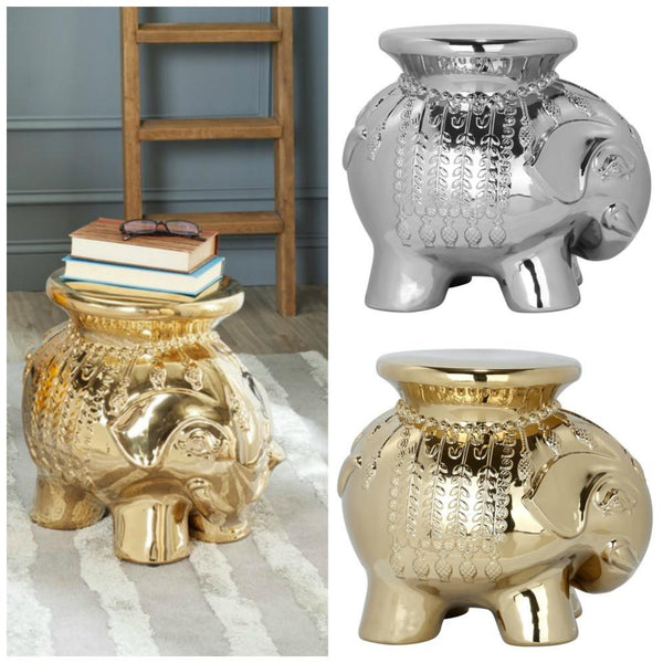 Global Boho Moroccan Caravan Metallic Elephant Stool-GoGetGlam
