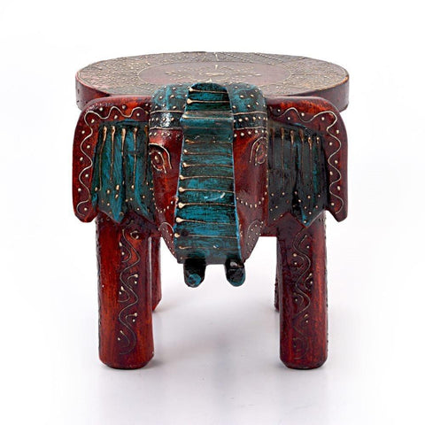 Global Hand Carved Wood Boho Moroccan Elephant Stool-GoGetGlam
