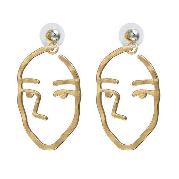 Gold Abstract Art Face Earrings - GoGetGlam Boho Style