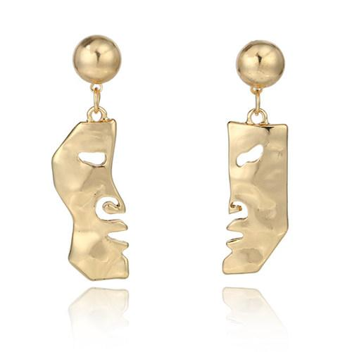 Gold Abstract Art Split Face Earrings-GoGetGlam