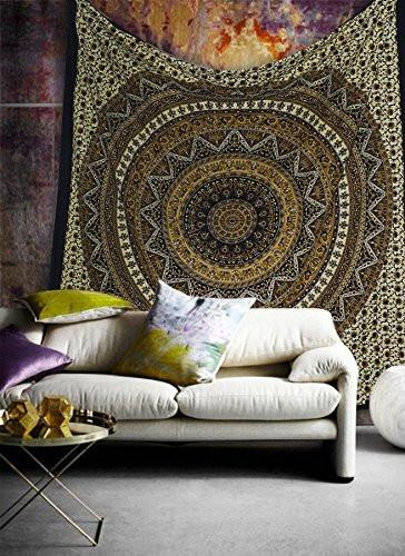 Gold Brown Gia Medallion Boho Bohemian Bedspread Wall Tapestry-GoGetGlam