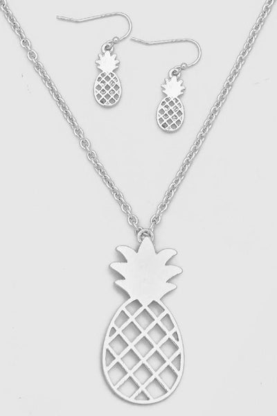 Gold or Silver Pineapple Necklace Earrings SET-GoGetGlam