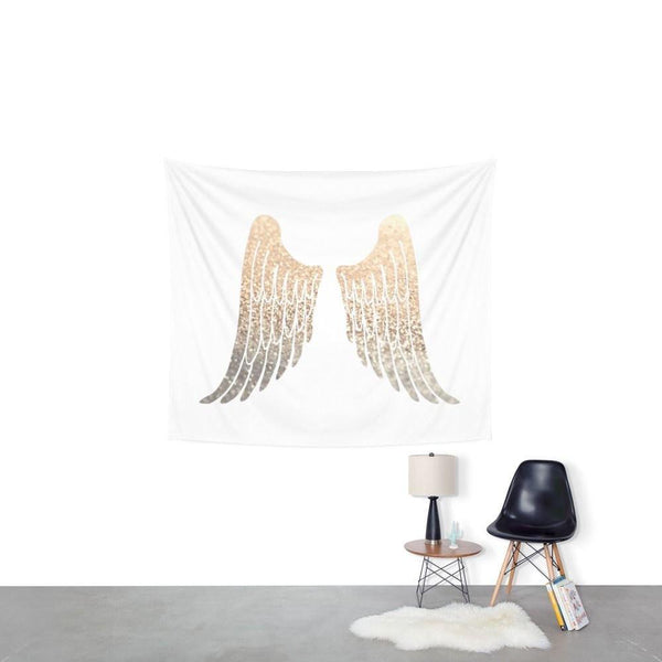 Gold Sequin Print Angel Wings Boho Wall Tapestry-GoGetGlam