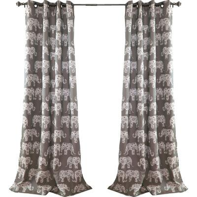 Gray Elephant Parade Room Darkening 84-Inch Curtain Panel Pair - Boho Bohemian Decor