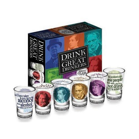 Great Drinkers Authors Shot Glass Set - Boho Bohemian Decor