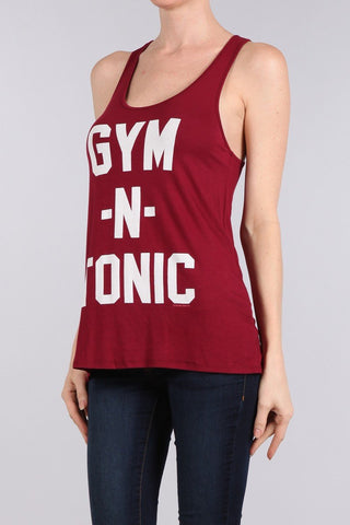 Gym and Tonic Graphic Racerback Tank Top-GoGetGlam
