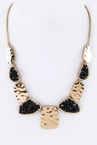 Hammered Gold & Bead Necklace-GoGetGlam