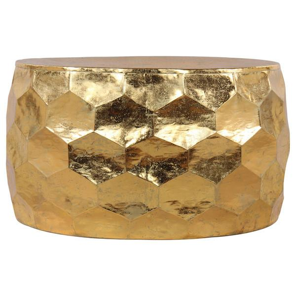 Hammered Gold Leaf Round Drum Coffee Table - Boho Bohemian Decor
