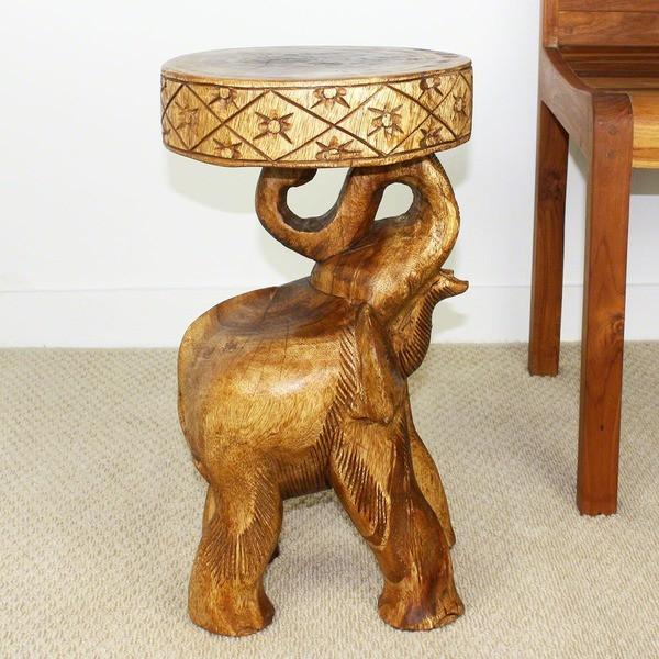 Hand Carved Walnut Oil Acacia Chang Elephant Table Stool GoGetGlam