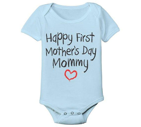 Happy First Mother's Day Mommy Baby Infant Onesie Bodysuit-GoGetGlam