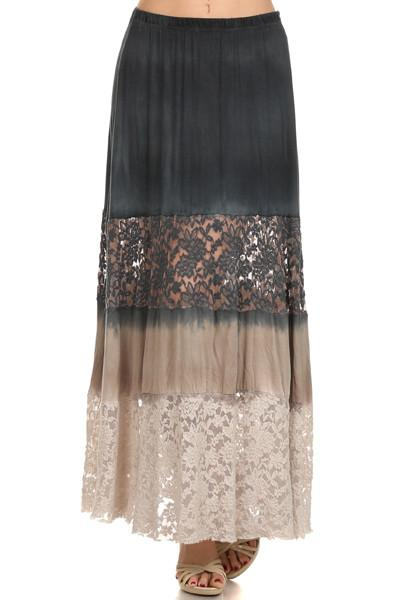 Harper Tie Dye Tier Lace Maxi Skirt-GoGetGlam