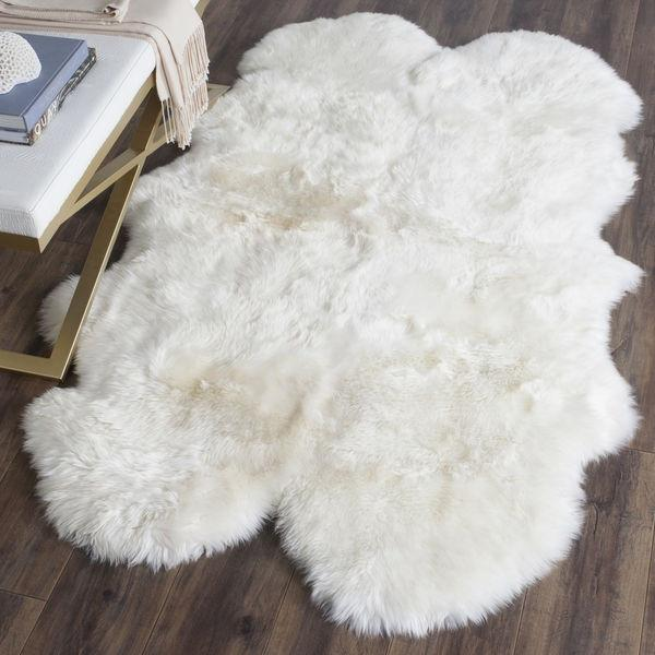 Hayden Wool Sheepskin White Fur Shaped Area Rug - GoGetGlam Boho Style