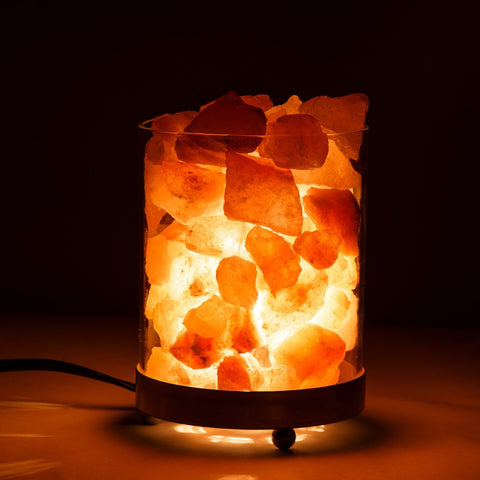 Himalayan Salt Lamp in Clear Glass Holder - GoGetGlam Boho Style