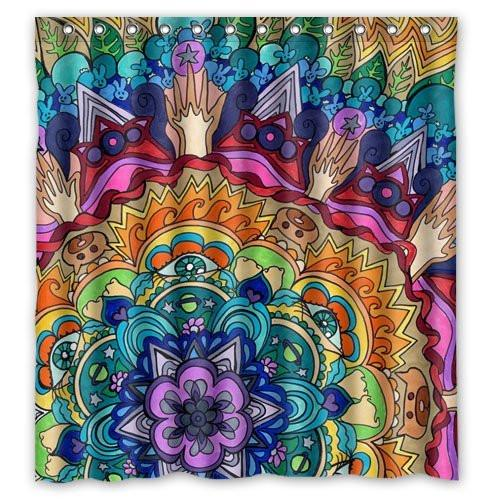 Hippy Trippy Psychedelic Theme Boho Fabric Shower Curtain
