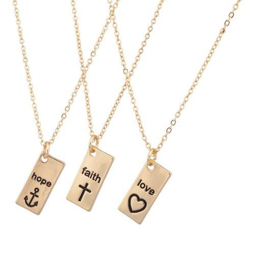 Hope Faith Love Anchor Cross Heart BFF Best Friends Necklaces - GoGetGlam Boho Style