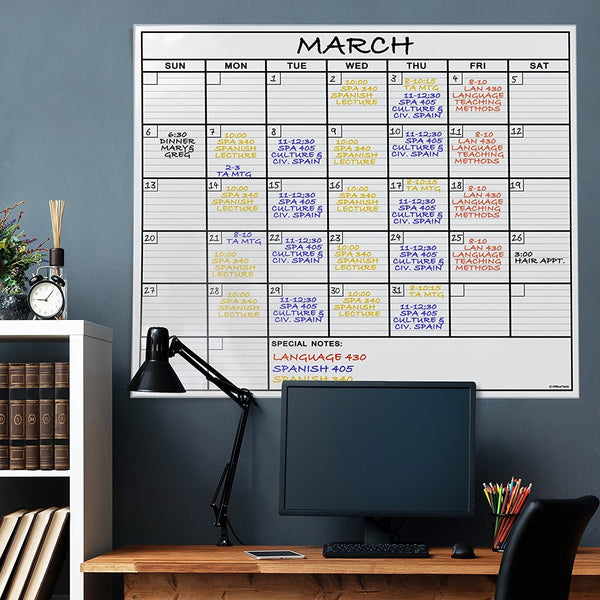HUGE 4 FT Dry Erase Calendar Board + Accessories - GoGetGlam Boho Style