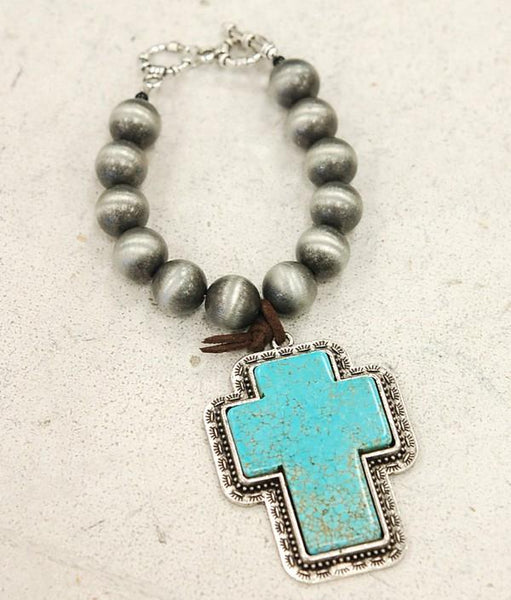 Huge Natural Turquoise Cross Charm Bracelet-GoGetGlam