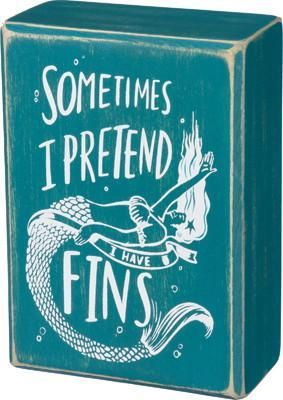 I Have Fins Mermaid Wooden Box Sign - GoGetGlam Boho Style