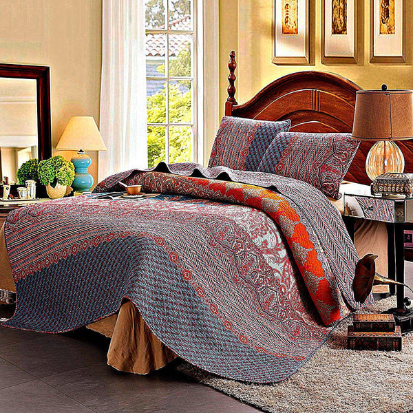 Mecca Morocco Cotton 3-PC Paisley Boho Reversible Quilt Set-GoGetGlam