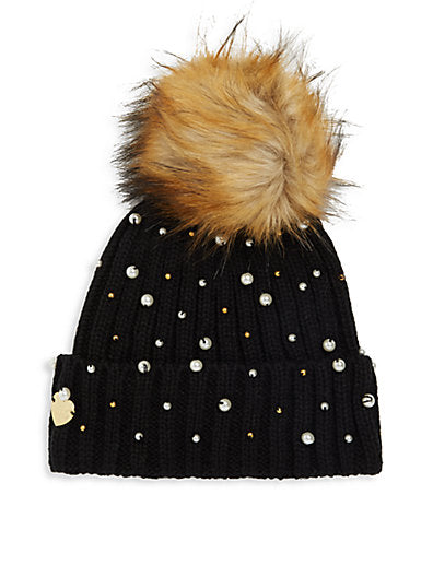 Betsey Johnson Faux Fur Pompom Beanie Black Hat-GoGetGlam
